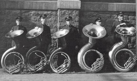 Picture five man sousaphone section Sousa Band